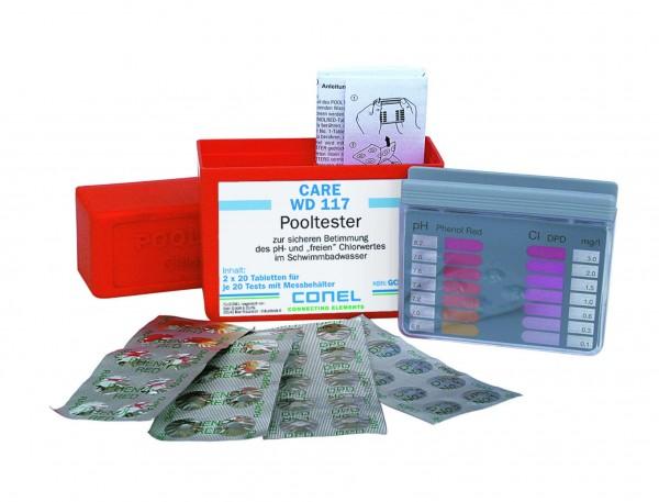 CARE WD 117 Clearwater Pooltester-Box zur Bestimmung pH- und Chlorwert CONEL