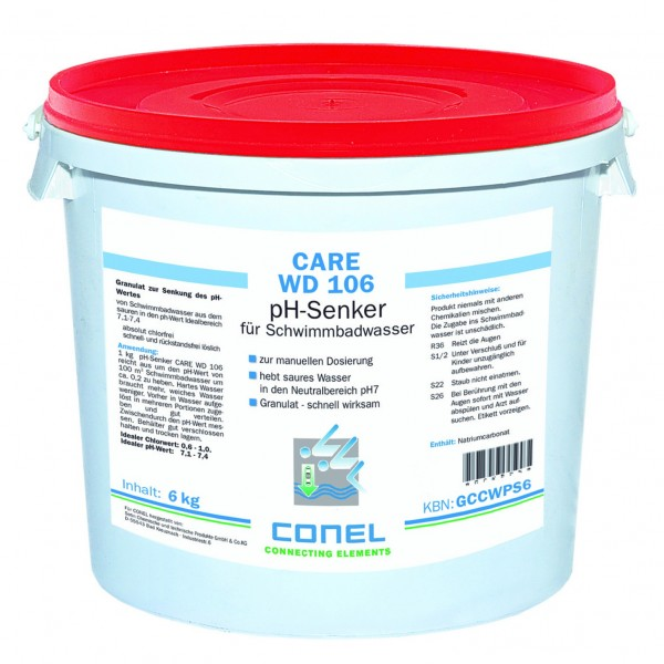 CARE WD 106 Clearwater pH-Senker 6 kg Eimer Granulat schnell löslich CONEL